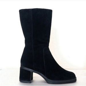 Hush Puppies Boots Black Suede Mid Calf Heeled